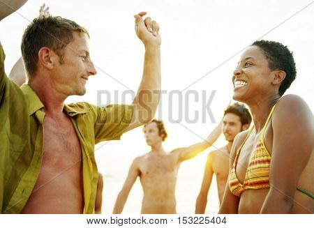 Beach Dancing Party Vacation Bikini Cheerful Concept