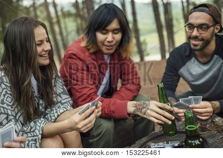 People Friendship Hangout Traveling Destination Camping Concept