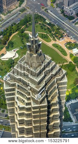 SHANGHAI, CHINA - SEPTEMBER 23, 2016 Jin Mao Tower Skyscraper Close Up Patterns and Designs Liujiashui Financial District Shanghai China.