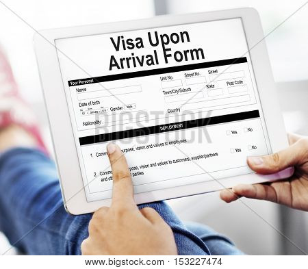 Visa Upon Arrival Form Documentation Concept