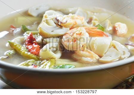 seafood Tom Yam hot soup on bowl