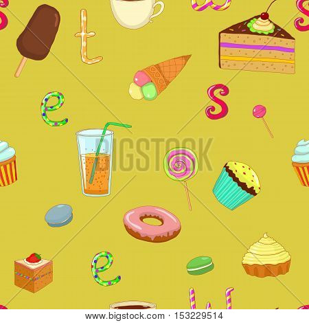 vector seamless pattern background sweet cake donut ice cream popsicle tea coffee juice lemonade candy on green background