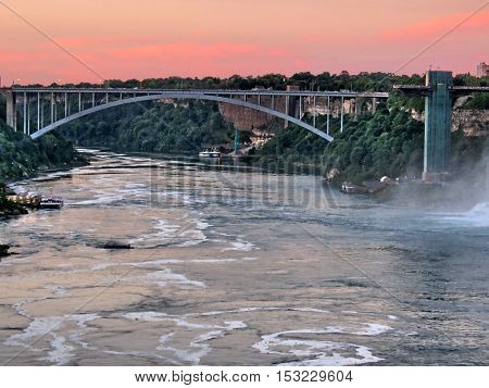 Rainbow Bridge evening at Niagara Falls Canada July 16 2016