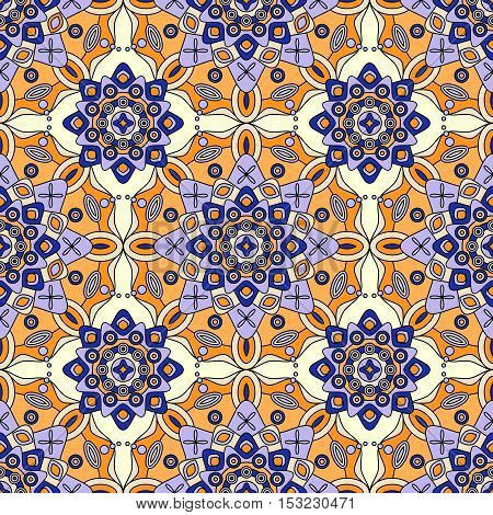 Seamless ethnic geometric pattern in shades of blue, yellow & orange.