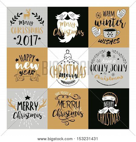 Merry Christmas And Happy New Year Typography Design With Hand Drawing Elements. Isolated Vector Ill