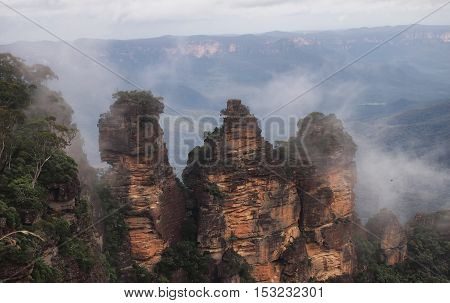 The Three Sisters From Echo Point Blue Mountains National Park NSW Australia