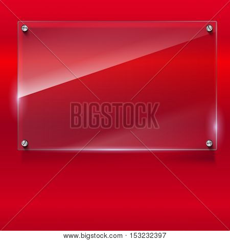 Elegant vector background with glass banner. Color polished texture with highlights and glow on the background. Vector editable texture, easy to change size