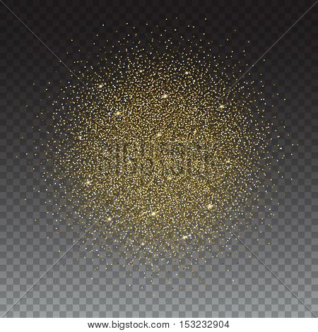 Gold glitter bright vector, transparent background. Golden sparkles, shiny texture, . Excellent for your greeting cards, luxury invitation, advertising, certificate