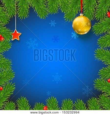 Christmas background with fir branches, red viburnum berries, Christmas balls, beads, a red star with ash trim, New Year ornaments and streamers on blue background with place for your text.