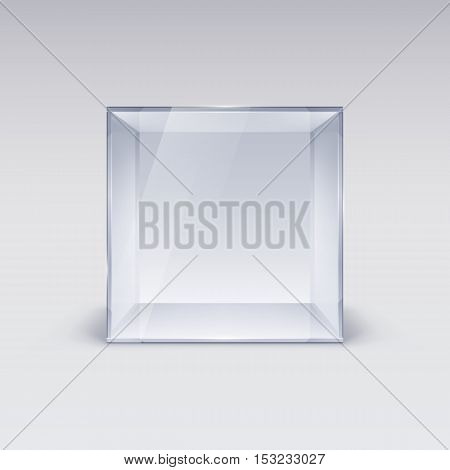 Empty Glass Showcase in Cube Form on White Background