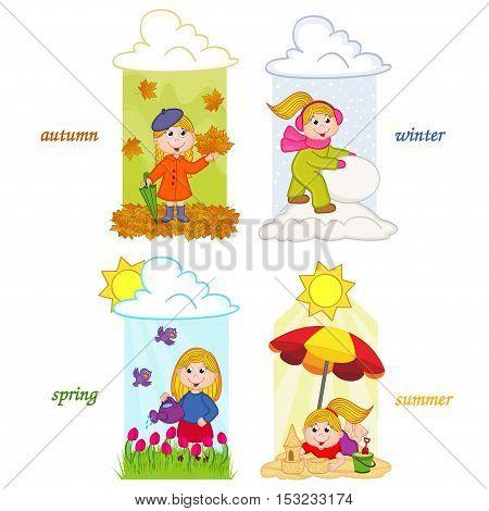 girl in four seasons of year - vector illustration, eps