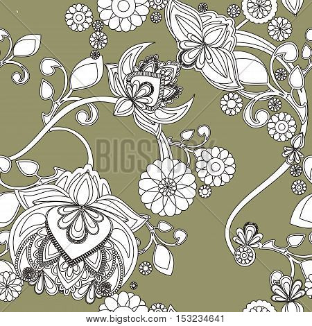 Seamless background with color vintage floral pattern.