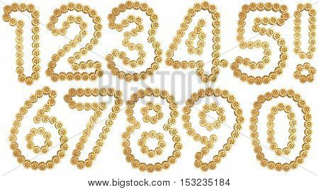 Number from gold gear mechanism. Isolated on white. 3D illustration