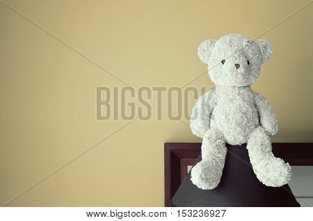 vintage blueberry teddy bear sit on the black lamp at headboard and green wall background for gift and surprise