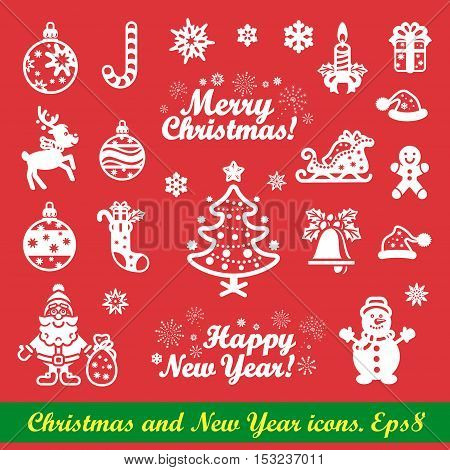 Christmas icons and New Year icons set. White on red Vector Eps 8.