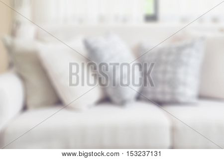 Blur Image Of Sofa Set With Varies Pattern Pillows In Living Room