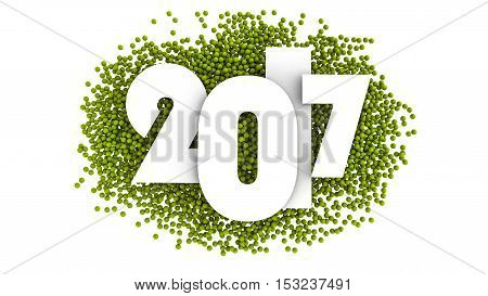 Happy new year 2017 Text Design. 3d illustration