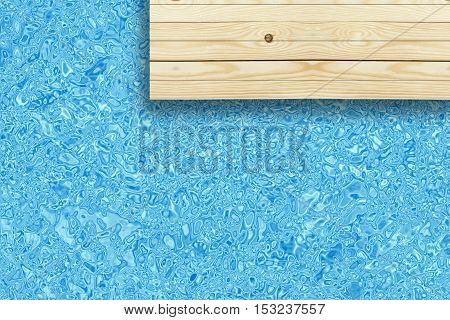 top view wooden deck or floor and swimming pool in the hotel or resort for travel at summer holiday background