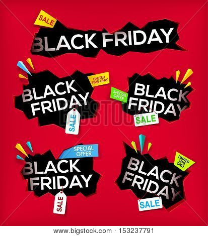 Set of Black friday banner. Cracked hole with black friday. Sale and discount. New offer. limited time only. Vector illustration.