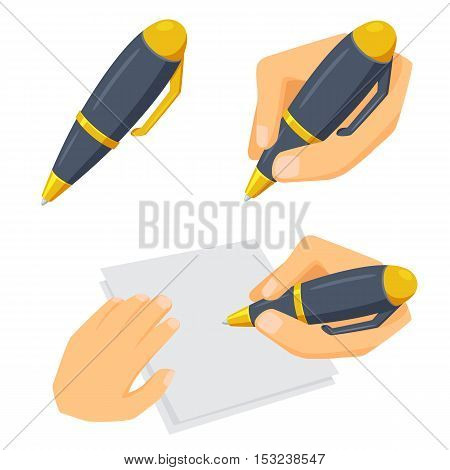 Hand with pen set. Process of writing, drawing and sketching. Office and artist tool. Hand holding pen cartoon vector. Working in office, education, hobby and creative concept. Pen in hand on white.