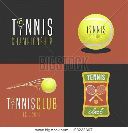 Tennis sport set of vector logo icon symbol emblem badge. Collection of graphic design elements with tennis ball tennis racket for college league court shop with equipment