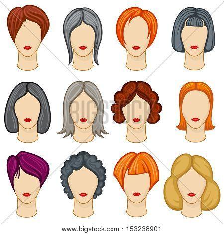 Womens cartoon hair vector hairstyles collection. Fashion haircut, hairdo trendy design illustration