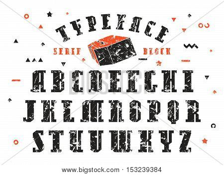 Stock vector set of serif font. Bold typeface with shabby texture