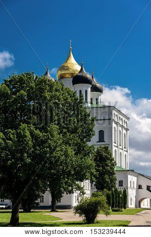 View of Trinity Cathedral of the Pskov Kremlin in summer sunny day