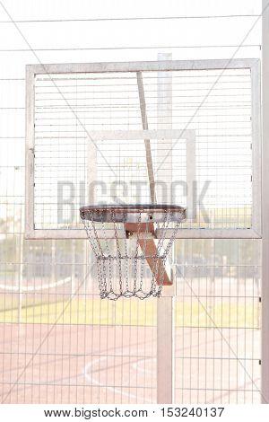 Sport, outdoor. Basketball basket on the street