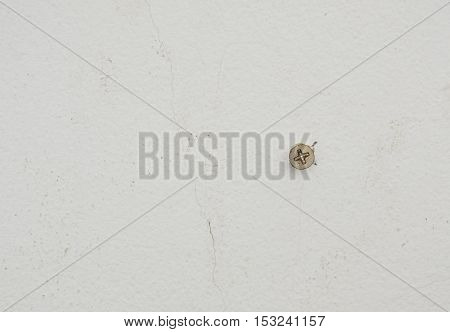 nut screw drill on white cement wall for mobile some object