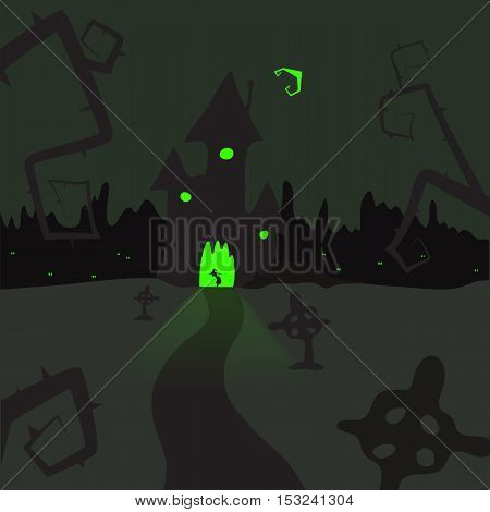illustration of a scary castle in a cemetery