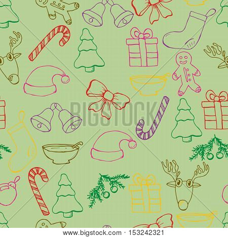 Hand drawn seamless christmas background. Black pen objects drawing. Design illustration for poster, flyer . EPS pattern