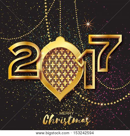 Merry Christmas Golden Glitter balls. Beautiful Decoration Bauble elements and garlands on black background. 2017 Happy New Year Greeting card. Vector design illustration
