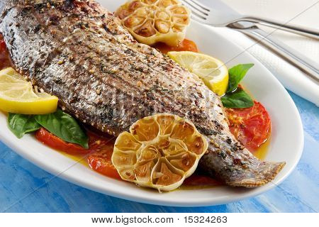 Roasted striped sea bass