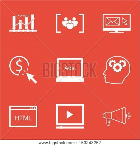 Set Of Marketing Icons On Newsletter, Keyword Optimisation And Video Player Topics. Editable Vector