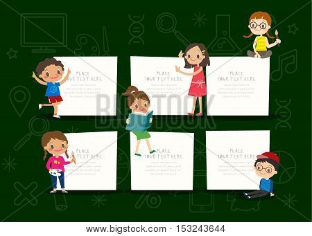 kids with blank notepad board on green chalkboard background vector cartoon illustration