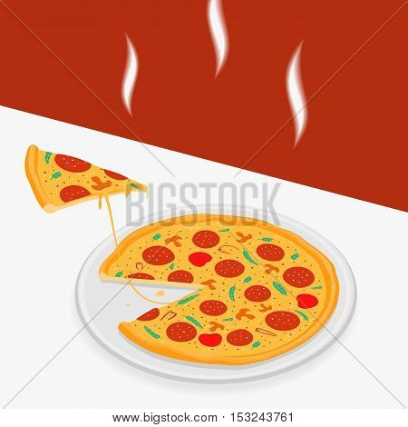 Hot pizza on a table vector illustration