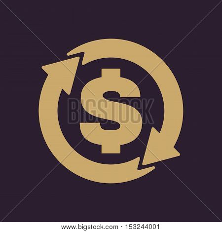 The currency exchange dollar icon. Cash and money, wealth, payment symbol. Flat Vector illustration