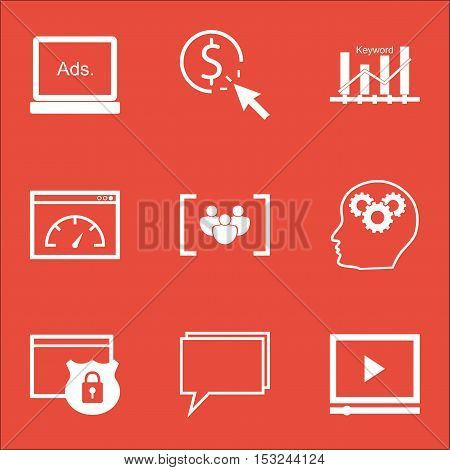 Set Of Advertising Icons On Brain Process, Security And Conference Topics. Editable Vector Illustrat