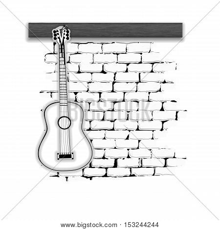 Musical Instruments acoustic guitar on the brick wall monochrome. Isolated on white background can be used with any text or image.