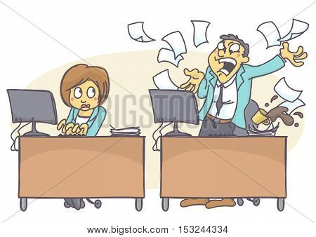 Cartoon illustration of bad coworker situation at work. Woman working hard, professional and effective while male colleague is shouting angry at computer. Poor coping with stress at work.