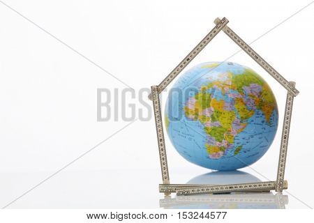 africa and europe with the fold able ruler folded into a house shape