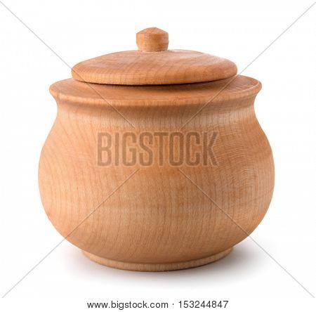 Wooden pot isolated on white