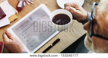 Senior Adult Insurance Plan Tablet Concept