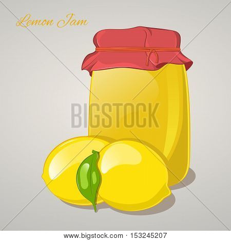 Lemon jam in a jar and fresh lemons isolated on grey background. Simple cartoon style. Vector illustration.