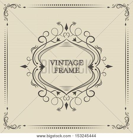 Ornate vintage vector calligraphic frame curves and spirals.