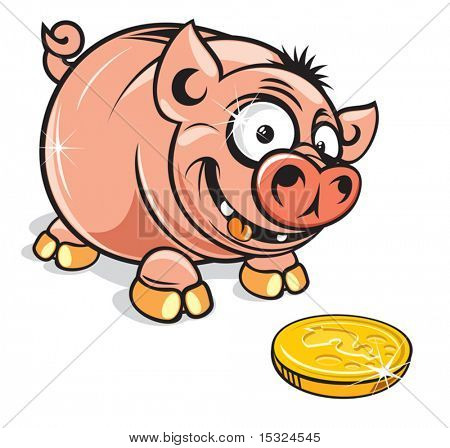 Funny Cartoon greedy  Piggy Bank-vector clip art