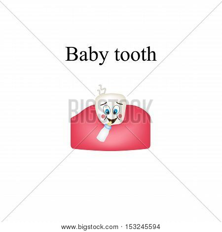 Cheerful baby tooth. Children cartoon style. Infographics. Vector illustration on isolated background.