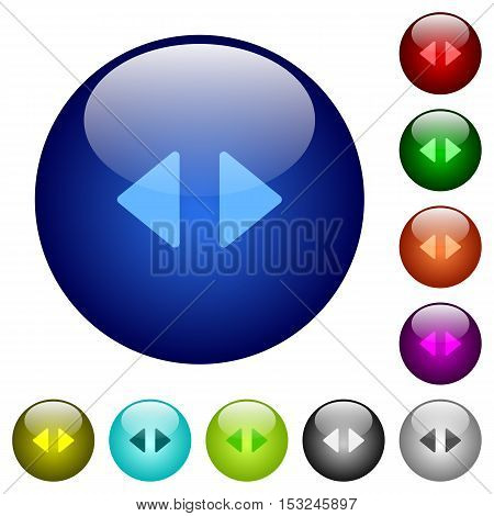 Horizontal control arrows icons on round color glass buttons