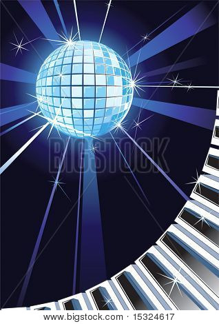 Music backdrop with Shiny Disco Ball and Piano keys.